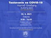 Testovanie na COVID-19 24.4.2021 v čase od 8:00 - 16:00