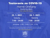 Testovanie na COVID-19, 23.1. - 24.1. 2021