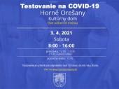 Testovanie na COVID-19 3.4.2021 v čase od 8:00 - 16:00
