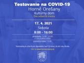 Testovanie na COVID-19 17.4.2021 v čase od 8:00 - 16:00