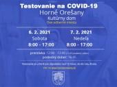 Testovanie na COVID-19 6.2.- 7.2.2021 - 8:00 – 17:00