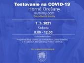 Testovanie na COVID-19 01.05.2021 v čase od 8:00 - 12:00