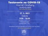 Testovanie na COVID-19 27.03.2021