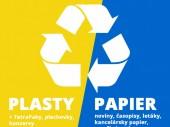 Separovaný zber - plasty, TetraPaky, plechovky, konzervy a papier v modrých vreciach