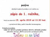Zápis detí do 1. ročníka ZŠ s MŠ Horné Orešany