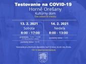 Testovanie na COVID-19 13.02.- 14.02.2021