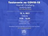 Testovanie na COVID-19 10.4.2021 v čase od 8:00 - 16:00