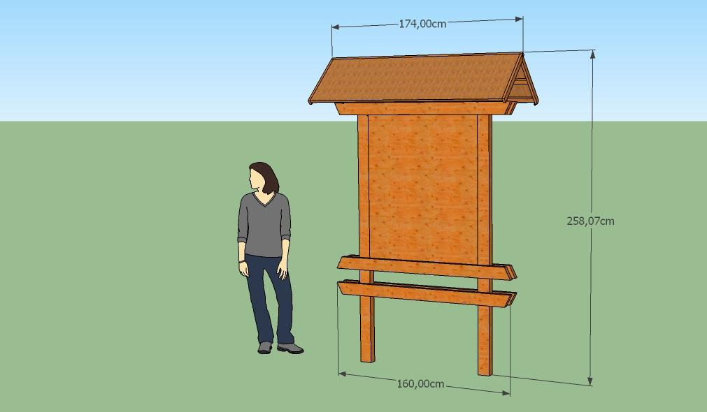 Obr. 5 Vizualizácia informačnej tabule (zošikmenie koncov vodorovných trámov bude zachované)